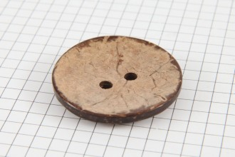 Round Coconut Shell Button, 38mm