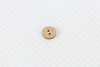 Round Coconut Shell Button, 15mm