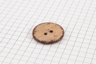 Round Coconut Shell Button, 23mm