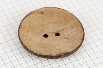 Round Coconut Shell Button, 50mm