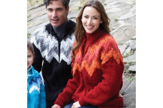Bernat - Adults ZigZag Zip Cardigan in Softee Chunky (downloadable PDF)