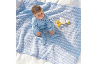 Bernat - 'My Favourite Blue/White Blanket' in Softee Baby (downloadable PDF)