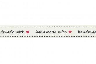 Berties Bows Grosgrain Ribbon - 16mm wide - Handmade With Love - Ivory (3m reel)
