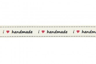 Berties Bows Grosgrain Ribbon - 16mm wide - I Love Handmade - Ivory (3m reel)