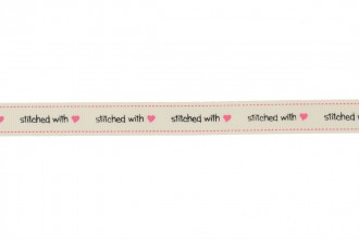 Berties Bows Grosgrain Ribbon - 16mm wide - Stitched with Love - Ivory (3m reel)