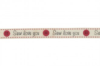Berties Bows Grosgrain Ribbon - 16mm wide - Sew Love You - Ivory (3m reel)