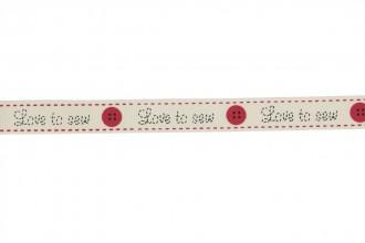 Berties Bows Grosgrain Ribbon - 16mm wide - Love to Sew - Ivory (3m reel)