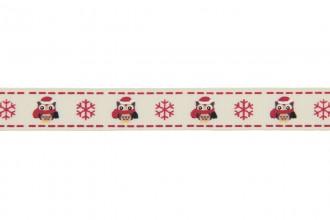 Berties Bows Grosgrain Ribbon - 16mm wide - Christmas Owl & Snowflake - Ivory (3m reel)