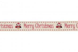 Berties Bows Grosgrain Ribbon - 16mm wide - Merry Christmas & Owl - Ivory (3m reel)