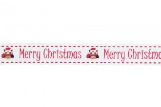 Berties Bows Grosgrain Ribbon - 16mm wide - Merry Christmas & Owl - White (3m reel)