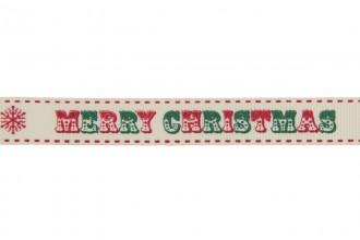 Berties Bows Grosgrain Ribbon - 16mm wide - Merry Christmas - Red & Green Ivory (3m reel)