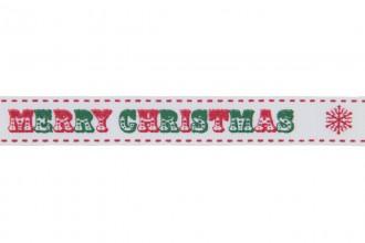 Berties Bows Grosgrain Ribbon - 16mm wide - Merry Christmas - Red & Green on White (3m reel)