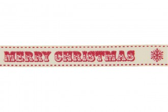 Berties Bows Grosgrain Ribbon - 16mm wide - Merry Christmas - Red on Ivory (3m reel)
