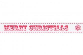 Berties Bows Grosgrain Ribbon - 16mm wide - Merry Christmas - Red on White (3m reel)