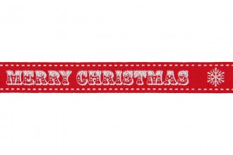 Berties Bows Grosgrain Ribbon - 16mm wide - Merry Christmas - White on Red (3m reel)