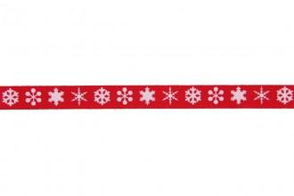 Berties Bows Grosgrain Ribbon - 9mm wide - Snowflakes - White on Red (3m reel)