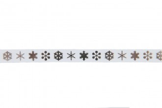 Berties Bows Grosgrain Ribbon - 9mm wide - Snowflakes - Silver on White (3m reel)