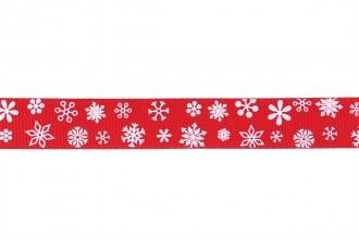 Berties Bows Grosgrain Ribbon - 16mm wide - Snowflakes - White on Red (3m reel)