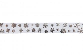 Berties Bows Grosgrain Ribbon - 16mm wide - Snowflakes - Silver on White (3m reel)