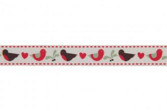 Berties Bows Grosgrain Ribbon - 16mm wide - Robin & Mistletoe - Ivory (3m reel)