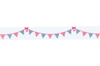 Berties Bows Grosgrain Ribbon - 16mm wide - Bunting - Navy & Red on White (3m reel)