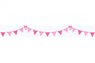 Berties Bows Grosgrain Ribbon - 16mm wide - Bunting - Pink on White (3m reel)