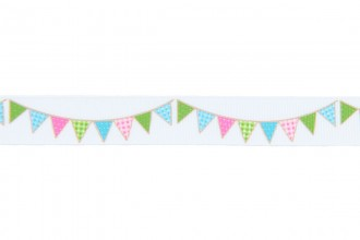Berties Bows Grosgrain Ribbon - 16mm wide - Bunting - Multi on White (3m reel)