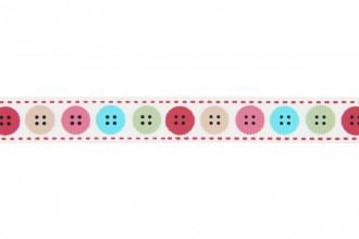 Berties Bows Grosgrain Ribbon - 16mm wide - Buttons - Multi on Ivory (3m reel)