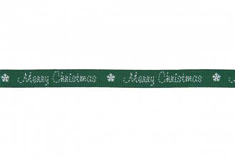 Berties Bows Grosgrain Ribbon - 16mm wide - Merry Christmas - White on Green (3m reel)