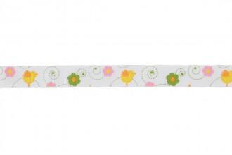 Berties Bows Grosgrain Ribbon - 16mm wide - Chicks & Flowers - Ivory (3m reel)