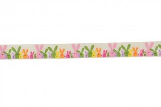 Berties Bows Grosgrain Ribbon - 16mm wide - Easter Bunnies - Ivory (3m reel)