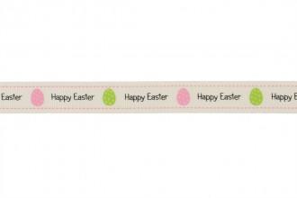 Berties Bows Grosgrain Ribbon - 16mm wide - Happy Easter - Ivory (3m reel)