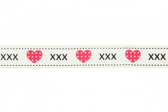 Berties Bows Grosgrain Ribbon - 16mm wide - Hearts & Kisses - Ivory (3m reel)