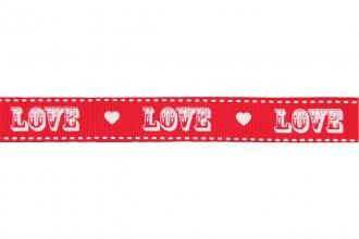 Berties Bows Grosgrain Ribbon - 16mm wide - Vintage Love - Red on Ivory (3m reel)