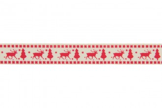 Berties Bows Grosgrain Ribbon - 16mm wide - Reindeer & Tree - Red on Ivory (3m reel)