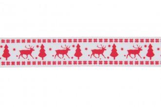 Berties Bows Grosgrain Ribbon - 22mm wide - Reindeer & Tree - Red on White (3m reel)