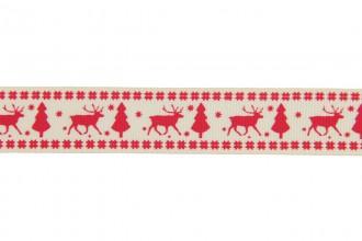 Berties Bows Grosgrain Ribbon - 22mm wide - Reindeer & Tree - Red on Ivory (3m reel)