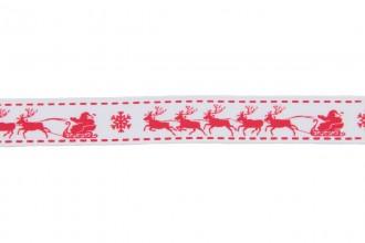 Berties Bows Grosgrain Ribbon - 16mm wide - Christmas Sleigh - Red on White (3m reel)