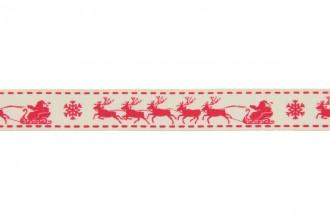 Berties Bows Grosgrain Ribbon - 16mm wide - Christmas Sleigh - Red on Ivory (3m reel)