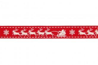 Berties Bows Grosgrain Ribbon - 16mm wide - Christmas Sleigh - Ivory on Red (3m reel)