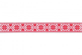 Berties Bows Grosgrain Ribbon - 16mm wide - Snowflakes and Hearts - Red on White (3m reel)