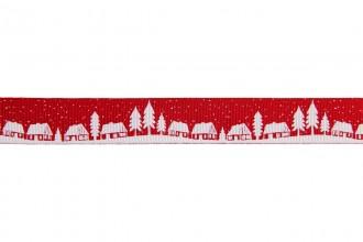 Berties Bows Grosgrain Ribbon - 16mm wide - Christmas Village - White on Red (5m reel)