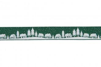 Berties Bows Grosgrain Ribbon - 16mm wide - Christmas Village - White on Green (5m reel)