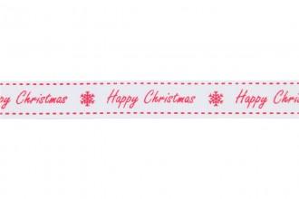 Berties Bows Grosgrain Ribbon - 16mm wide - Happy Christmas - Red on White (5m reel)