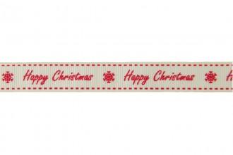 Berties Bows Grosgrain Ribbon - 16mm wide - Happy Christmas - Red on Ivory (5m reel)