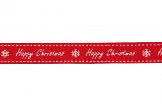 Berties Bows Grosgrain Ribbon - 16mm wide - Happy Christmas - White on Red (5m reel)