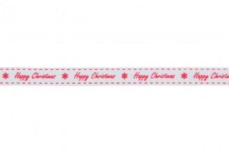 Berties Bows Grosgrain Ribbon - 9mm wide - Happy Christmas - Red on White (5m reel)