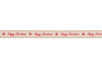 Berties Bows Grosgrain Ribbon - 9mm wide - Happy Christmas - Red on Ivory (5m reel)