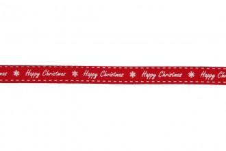 Berties Bows Grosgrain Ribbon - 9mm wide - Happy Christmas - White on Red (5m reel)