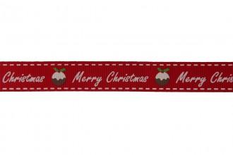 Berties Bows Grosgrain Ribbon - 16mm wide - Merry Christmas & Pud - White on Red (5m reel)